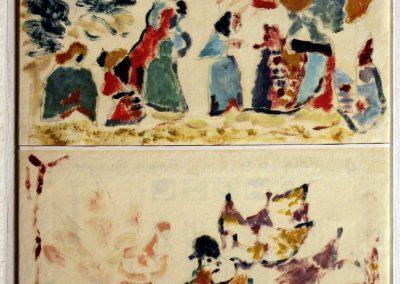 1. Ebrei nel deserto, olio su carta, 14,5 x16,5 cm 2013; 2. Creazione, olio su carta, 14,5 x 16,5 cm, 2013