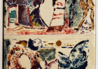 1. Ebrei nel deserto, olio su carta, 14,5x16,5 cm, 2013; 2. Leggenda Aurea, olio su carta, 14,5x16,5 cm, 2013