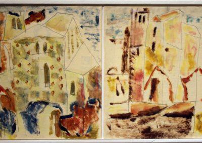 1. St. Antimo, olio su carta, 16,5x14,5 cm, 2012; 2. St. Antimo, olio su carta 16,5x14,5 cm, 2012