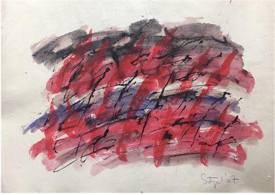 acquerelli su carta intelata, 67,5x99x5 cm