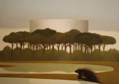 Pineta della cisterna,olio su tavola, 41x38 cm, 2011